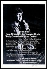 1972 Mac Davis photo Baby Don't Get Hooked On Me record release trade print ad