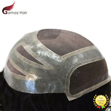 French Lace Front Fine Mono Mens Toupee Poly Skin Human Hair Systems Black #1B