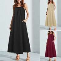 ZANZEA Women Strappy Long Shirt Dress Summer Holiday Slip Dress Sundress Plus