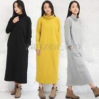 Fashion Women's Spring Neck Sweatshirt Dress Oversized Long Sleeve Loose Tunic