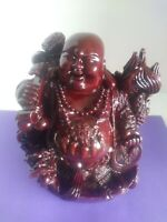 VINTAGE CHINESE FABULOUS LARGE HAPPY LAUGHING MAN BUDDHA RED RESIN  NEW