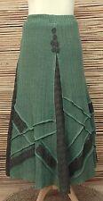 * ZUZA BART * design bellissimo lino fatto a mano + PIZZO GONNA A-Line ** Verde ** Taglia L-XL