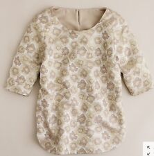 J.CREW NWT $135 Goldenrod Floral Brocade Silk Lined Metallic Top Size 2 Gold