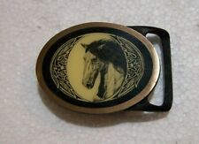 Tech Ether Guild Belt Buckle Horse Picture Inlay Solid Brass 1978
