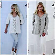 KNITTING PATTERN Ladies Diamond Lace Jumpers/Tunics Cottonsoft DK King Cole 5372