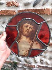Tres BEaux Vitrail Ancien Plomb Verre Soufflé Debut XXe Église Christ Religion