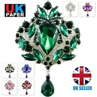 EXTRA LARGE DIAMANTE RHINESTONE CRYSTAL BROOCH SILVER VINTAGE PIN LOT FOR WOMEN