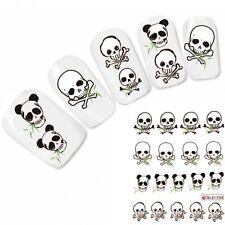 Nagel Sticker Nail Art Tattoo Totenkopf Halloween Skull Panda Aufkleber Neu!