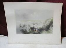 ANTIQUE HAND COLORED ENGRAVING COVE HARBOUR IRELAND 4/18