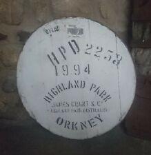 "1994 Highland Park Whisky Cask Sherry Barrel Lid braced ready to hang 21"" wide"