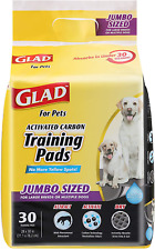 New listing Glad for Pets Jumbo Size Black Charcoal Puppy Pee Pee Pads Potty Training 30 ct.
