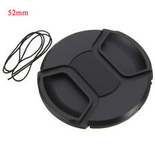 52mm Front Lens Cap Cover Center Pinch Snap-on with Cord For Camera Lens Filter