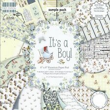 IT'S A boy PAPERS Dovecraft 8 x 8 Sample Paper Pack 16 Sheets Baby boy 200gsm