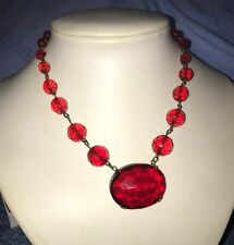 Art Deco Gorgeous Rare Red Glass Necklace