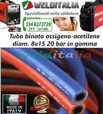 TUBO BINATO IN GOMMA 5 MT. PER CANNELLO OSSIGENO ACETILENE DIAM. 8X15 20 BAR