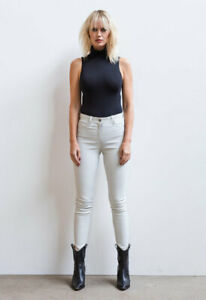 Women's Real Sheepskin White Leather Pant Zip Slim Fit Vintage Trousers Everyday