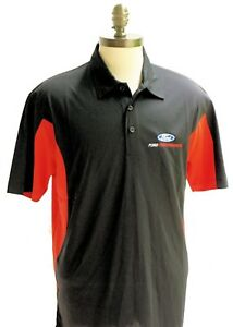 FORD PERFORMANCE POLO SHIRT IN RED AND BLACK SOLD EXCLUSIVELY HERE FORD LICENSED