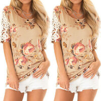 Women Lace Floral Short Sleeve Blouse Tops Summer Holiday Casual Party T-shirt