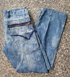 CIPO & BAXX 'C-657' Men's Blue Embroidered Diamante Zippers Jeans W33 L31