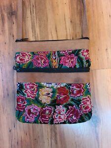 Artisan Leather Purse Boho Mayan Crossbody Made in Guatemala Embroidery Festival
