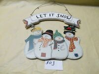 """Let It Snow Wooden Snowman Hanging Sign 10.5"""" x 9.25"""" w/ Wire hanger"""