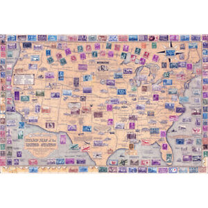 Wooden Jigsaw Puzzles 500 PCS Stamp Map of the United States Toy Gift Home Decor