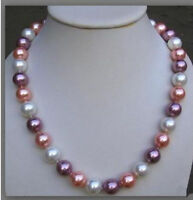 """Beautiful 10MM Multicolor SOUTH SEA SHELL PEARL NECKLACE 18"""""""