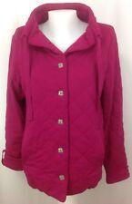 LANDS END Pink Quilted Coat Jacket Lightweight Cotton Women's Medium M ~ EUC
