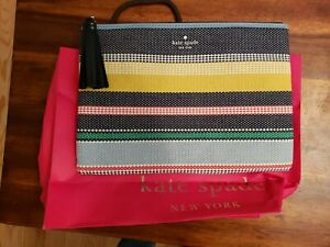 NWT Kate Spade Ash St. Large Striped Pouch w/ Leather Tassel WLRU5329