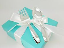 Vintage Tiffany & Co. Sterling Silver Baby Feeding Cordis Spoon & Fork w/ Box