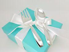 Vintage Tiffany & Co. Sterling Silver Baby Feeding Cordis Spoon & Fork w/ Box