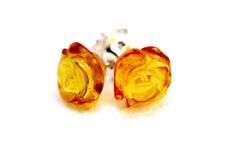 925 Sterling Silver Stud Earrings Rose with Genuine Natural Baltic Honey Amber