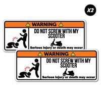 2x Warning Scooter Motorcycle Motorbike Sticker Funny Car Stickers Novelty De...