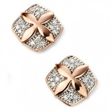 Elements 9ct Rose Gold Diamond Flower Stud Earrings [GE2087]