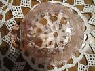 Vintage  - Pink Pressed Glass Fruit Pattern Relish/Candy/Mint Dish with Handle