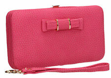 Womens Ladies Faux Leather Cute Bow Pretty Large Wallet Girls Long Purse Clutch