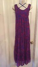 MOSSIMO Women's Maxi Dress FUCHSIA PURPLE Tiered Empire Waist Long SZ medium M