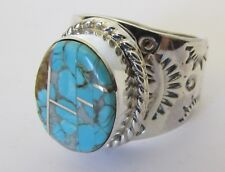 Native American Sterling #8 Mine Turquoise Ring Size 6 With/C.O.A Signed FAT