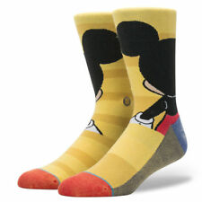 Stance Disney Men Yellow Crew Cotton Mickey Mouse Graphic Casual Socks L 9-12