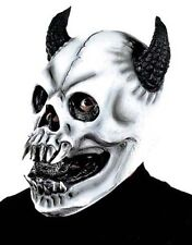 Spaventosa TESCHIO BIANCO MASCHERA MOSTRO CON CORNA HALLOWEEN FANCY DRESS