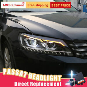 New For VW Passat Headlights assembly Bi-xenon Lens Projector LED DRL 2012-2015