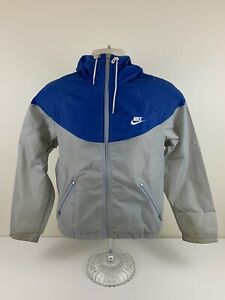 VTG 80s Nike Windbreaker Blue Grey Mens Size M Medium Hooded Full Zip USED