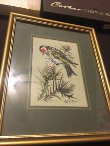 "Framed Woven Silk J J Cash Picture of 'Goldfinch' Bird 3""x 5"" Pic, Wbox"
