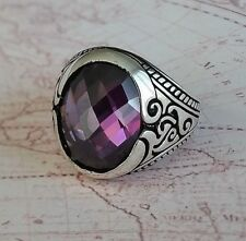 Faceted Cabochon Amethyst Gemstone 925 Sterling Silver Mens Ring Gemstone