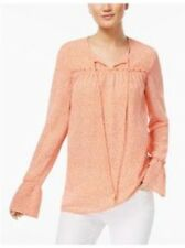Michael Kors Poppy White Peasant Top Long Sleeve Size Large MSRP $94