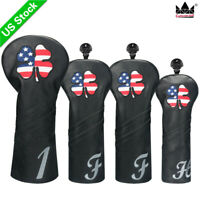 USA CLOVER Wood Headcovers 460cc Club Cover Fairway UT for Taylormade Men's Blk