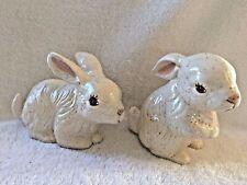 2 Vintage Ceramic Speckled Easter Bunny Rabbits