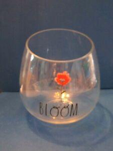 """Rae Dunn """"BLOOM"""" Flower Glass Plant Terrarium Vase Bowl 6.5"""" succulent Tilt top"""