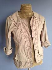Beige Designer Nina Ricci Blazer Jacket Taille Fr 42 UK14 US 10