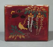 Antique Japanese Lacquered Box, Flowers, Butterfly and Bird